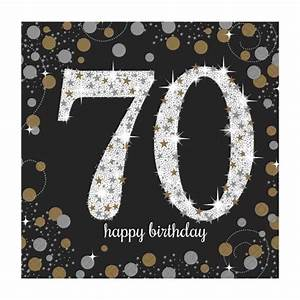 16 x Black Age 70 Napkins Black gold silver 70th Birthday