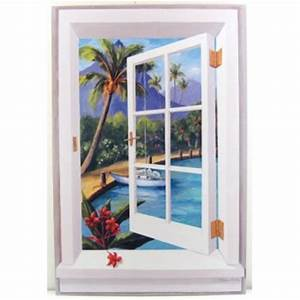 tropical beach window scene wall art With best brand of paint for kitchen cabinets with palm tree canvas wall art