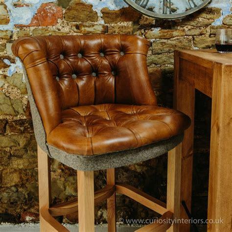 italian leather wood bar stool  curiosity interiors
