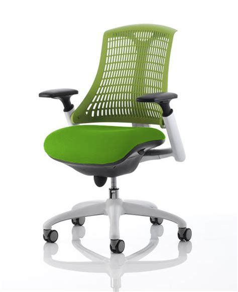 flex office chair with green back