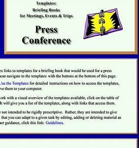 templates for a briefing book prepared for a press conference With conference press release template