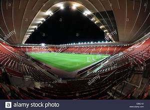 View inside st mary s stadium at night under floodlights