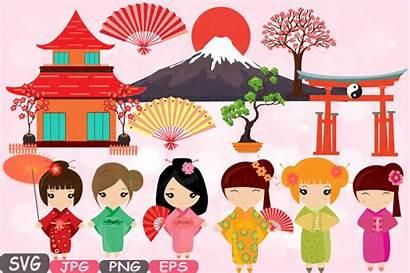 Japanese Clipart Kokeshi China Dolls Clip Silhouette