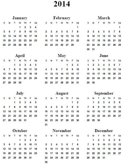 2014 Year Calendar Template by 2014 Calendar Printable Yearly Calendar Template