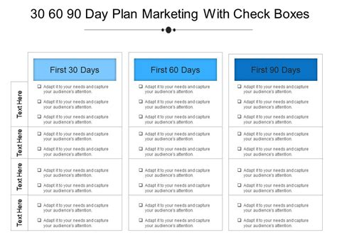 30 60 90 day plan template 30 60 90 day plan marketing with check boxes exle of