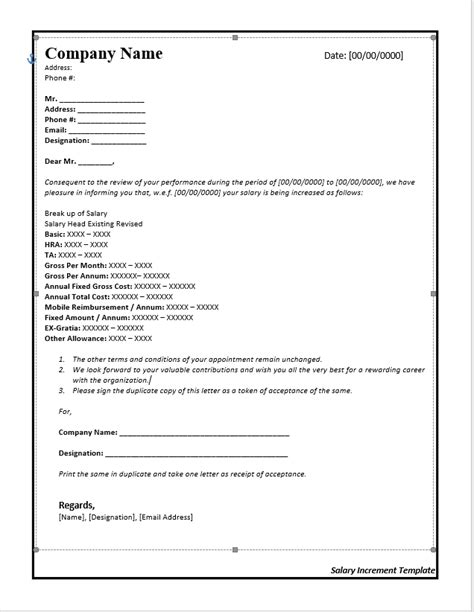 salary increase letter template from employer to employee salary increase letter template from employer to employee free word templates