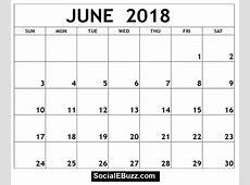 Blank Monthly Calendar June 2018 Template – 2018 Calendar