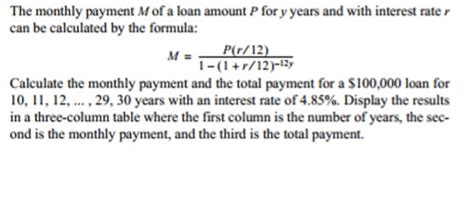 The Monthly Payment M Of A Loan Amount P For Y Yea