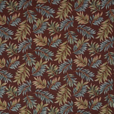 Floral Upholstery Fabric by And Green Floral Leaves Tapestry Upholstery Fabric By