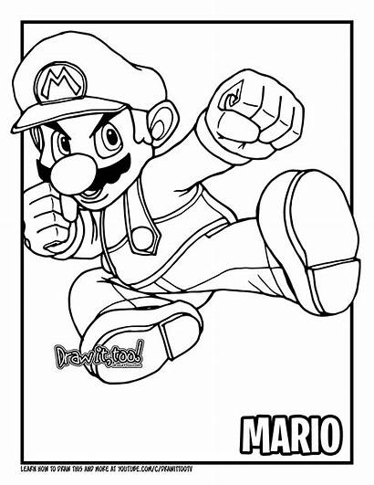 Mario Super Draw Drawing Bros Coloring Drawings