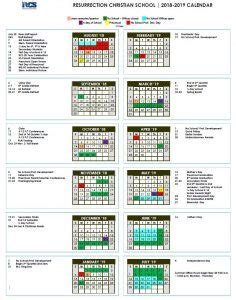 calendar resurrection christian schoolresurrection