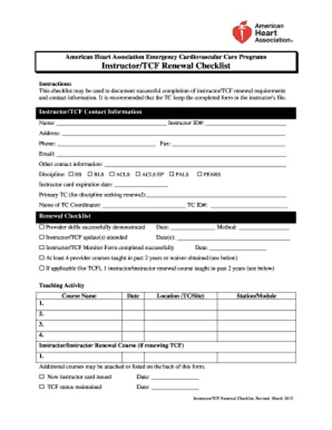 aha instructor forms aha instructortcf renewal checklist fill online