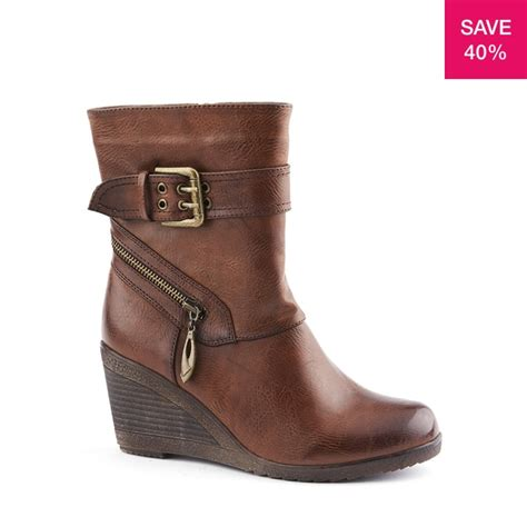 40% off on Ladies Wedge Bootie With Buckle Trim