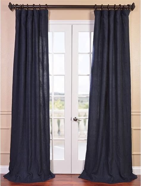 denim blue linen curtain panel contemporary