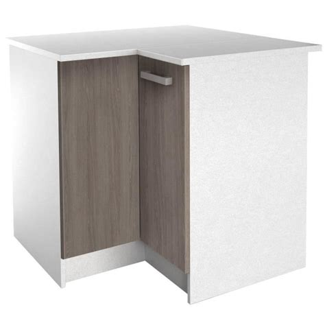 start meuble de cuisine bas d angle avec plan de travail l 88 x p 88 cm blanc et d 233 cor ch 234 ne