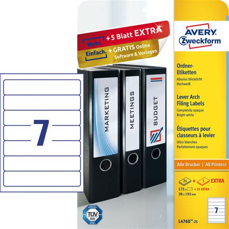 avery zweckform schmal ordnerruecken etiketten papersmart