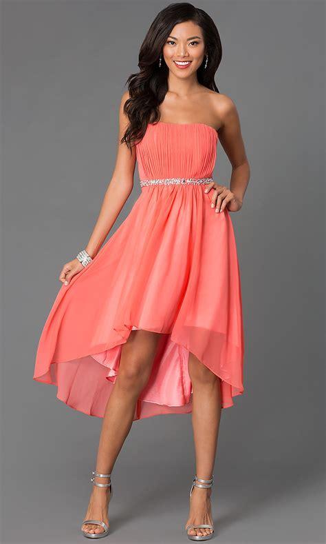 strapless high  beaded waistline dress promgirl
