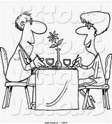 Restaurant Cartoon Outlined Couple Dining Coloring sketch template