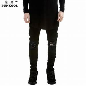 PUNKOOL Summer Mens Destroyed Denim Jeans Slim Hole Black ...