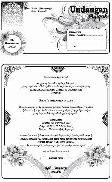 contoh surat undangan aqiqah format ms word bisa diedit pontrencom