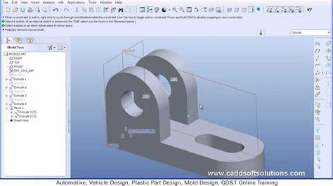 pro engineer pro e wildfire 5 0 basic beginner part modeling tutorial