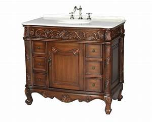 40, U0026quot, Antique, Style, Single, Sink, Bathroom, Vanity, With, Marble, Top