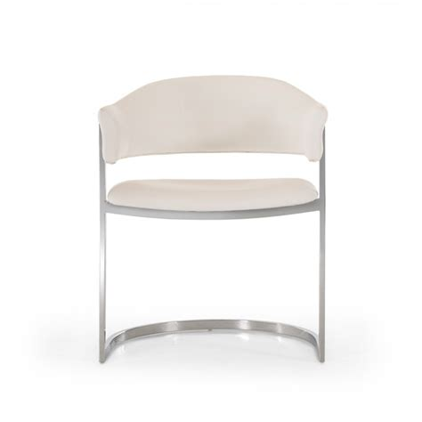 modrest contemporary white leatherette dining chair