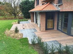Brasero En Pierre : am nagement d 39 une terrasse en bois et en ardoise ~ Nature-et-papiers.com Idées de Décoration
