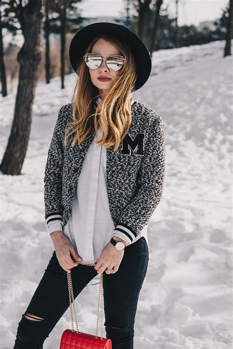 Bomber jacket - black and white outfit  Winter WardrobePink Wish
