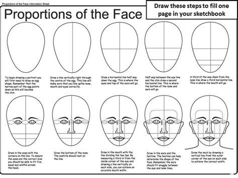 proportions  face worksheet gezichten tekenen