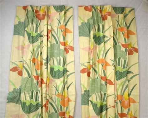 Hawaiian Curtains Drapes - set of 2 bohemian tropical print floral panel curtain