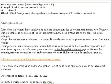 mail de remboursement orange sfr phishing