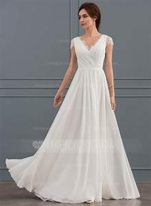 a line princess v neck floor length chiffon lace wedding With wedding dresses floor length