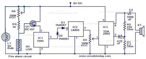 simple fire alarm circuit  ldr