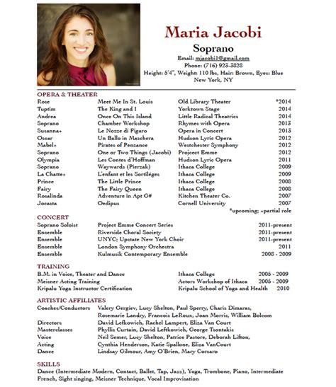 Opera Singer Resume by R 233 Sum 233 Jacobi
