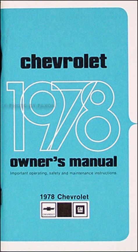 service repair manual free download 1977 chevrolet caprice user handbook 1978 chevy impala caprice owner s manual reprint