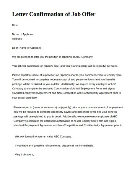 employment offer letter template offer letter 9 free sle exle format free premium templates