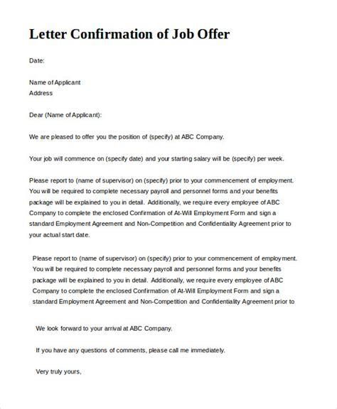 job offer letter sample offer letter 9 free sample example format free 22641 | Letter Confirmation of Job Offer