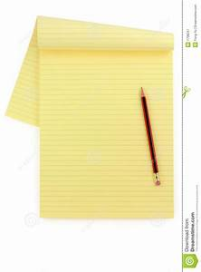 Yellow Lined Paper And Pencil Royalty Free Stock ...