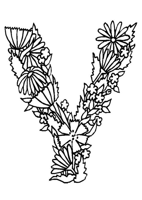 coloriage alphabet fleurs  sur hugolescargotcom