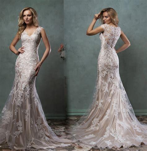 Vestido De Noiva New Vintage Wedding Dress 2016 V Neck Cap