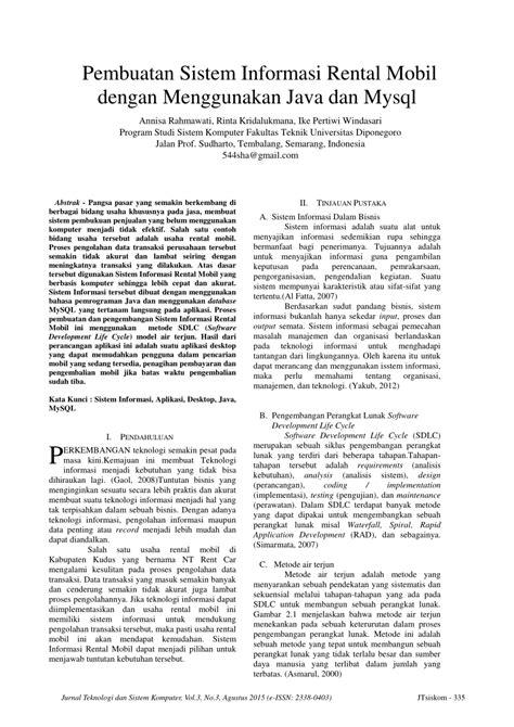 (PDF) Pembuatan Sistem Informasi Rental Mobil dengan