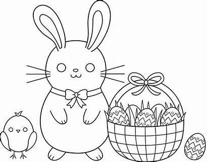 Easter Coloring Clipart Egg Hunt Clip Scene