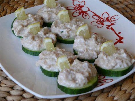 recette canapé apéro recette canapés de concombre à la mousse de thon