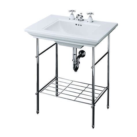 console sink with chrome legs kohler memoirs table legs only in polished chrome k 6880