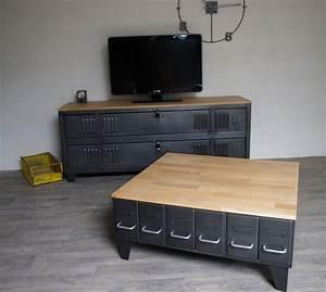 Table Basse Avec Tiroir : grande table basse industrielle avec tiroirs m tal et bois ~ Teatrodelosmanantiales.com Idées de Décoration