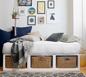 stratton storage platform daybed with baskets pottery barn With day beds pottery barn