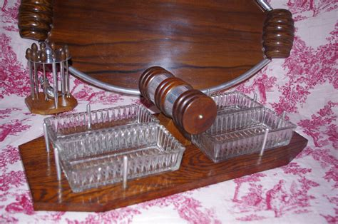 Vintage Art Deco French Tray Serving Pieces Platter Bar