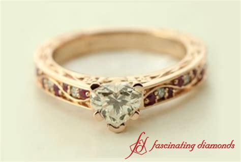 filigree heart shape diamond engagement ring in 18k rose gold