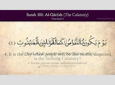 Quran 101 Surah AlQari'ah The Calamity Arabic and
